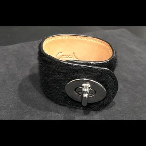 Coach black and silver leather cuff